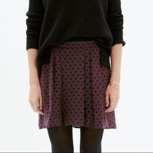 NWT Madewell Plum Purple & Black Polka Dot Skirt